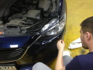 Mazda 6 - антигравийная защита фар и внутренних порогов